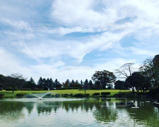 池のある公園の写真・画像素材[3190463]