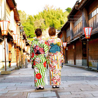 金沢ひがし茶屋街の着物女性の写真・画像素材[3225490]