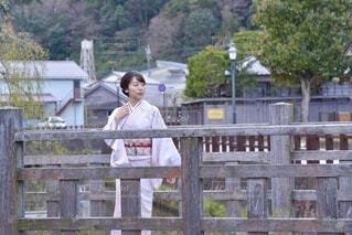 小江戸佐原の町並みと若く美しい着物女性の写真・画像素材[4005391]