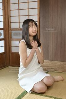 畳の上で正座する白いワンピース姿の若い女性の写真・画像素材[4369440]