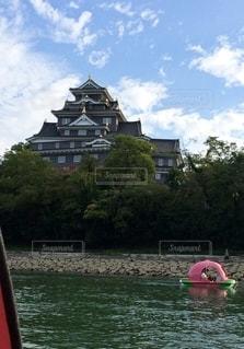 桃ボートからの岡山城の写真・画像素材[3223743]