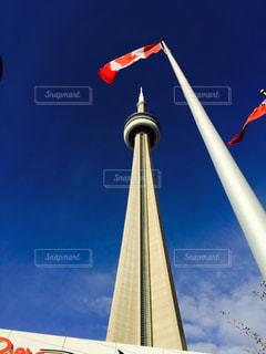 トロントのCNタワーのクローズアップの写真・画像素材[3187819]