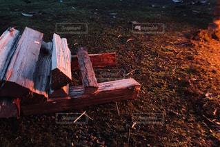 焚き火の灯りと薪の写真・画像素材[3221715]