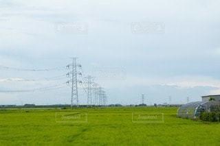 送電塔と田園風景の写真・画像素材[3442017]