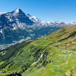 緑豊かな丘の中腹の眺めの写真・画像素材[3203279]
