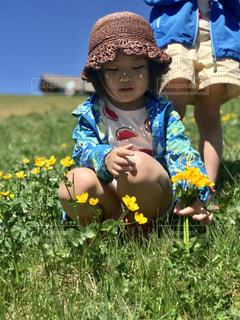 小さな子供が草の中に座っているの写真・画像素材[3203287]