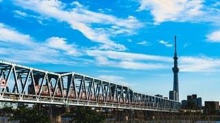 水の体に架かる橋を渡る列車の写真・画像素材[3211814]