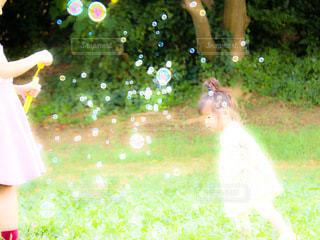 しゃぼん玉と少女の写真・画像素材[3598387]