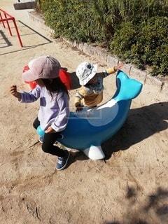 イルカにまたがる女の子の写真・画像素材[3226407]