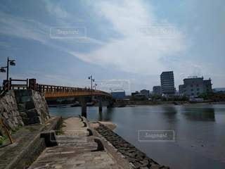 唐津城に架かる橋の写真・画像素材[3424640]