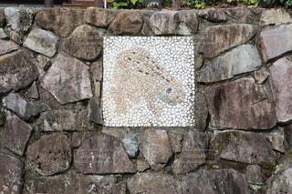 下呂温泉の石垣に描かれたカエルの写真・画像素材[3977853]