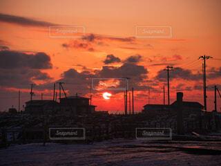 納沙布岬の朝焼けの写真・画像素材[4158999]