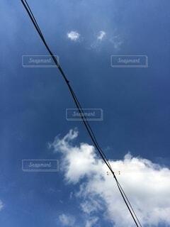 雲を背景にした電線に止まっているトンボの写真・画像素材[3673256]