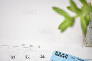 健康保険証、領収証および明細書に植物ありの写真・画像素材[3729610]