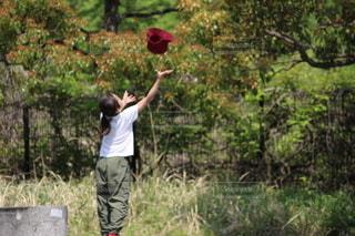 フリスビーを投げる男の写真・画像素材[3313939]