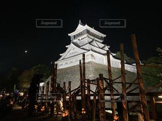 小倉城ライトアップの写真・画像素材[3316082]