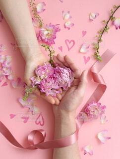 ケーキ付きのまな板の上のピンクの花の写真・画像素材[4101024]