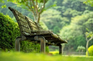 公園のベンチの写真・画像素材[3466075]