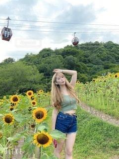 向日葵畑の女性の写真・画像素材[3600309]