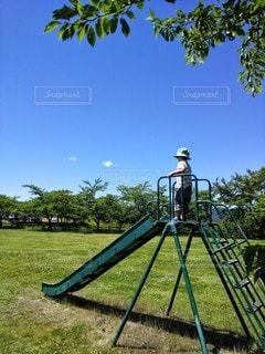 緑のすべり台とこどもの写真・画像素材[3353017]