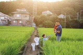夕焼けの中の親子の写真・画像素材[3857529]