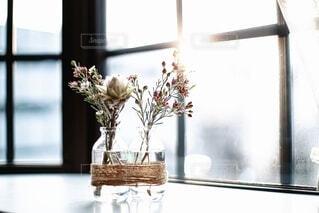窓の前の花瓶の写真・画像素材[3650588]