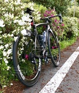 道路の脇に駐車している自転車の写真・画像素材[3397374]