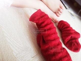 赤の靴下の写真・画像素材[3397678]