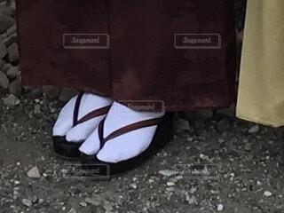 草履を履いた足クローズアップの写真・画像素材[4037530]