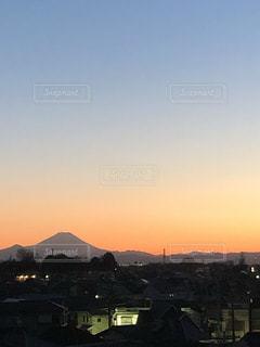 夕陽の富士山の写真・画像素材[3404615]