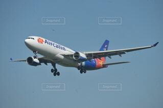 着陸するAir Calinの写真・画像素材[4565013]