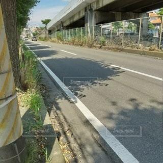 街路樹の影が続く道の写真・画像素材[3556261]