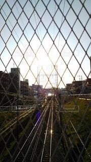 金網越しから眩しい線路を見るの写真・画像素材[3702782]