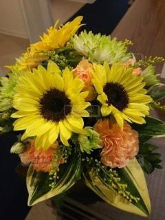 受付カウンターの花の写真・画像素材[3424466]