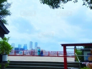 高台の神社から見渡すビル群と大きな空の写真・画像素材[4719240]