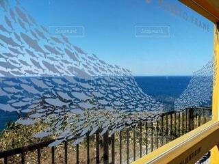 雲一つない空と青い海をバックに鮭の羽入り額縁の写真・画像素材[4328187]