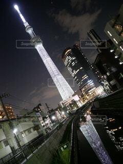東京スカイツリーのクローズアップの写真・画像素材[3688781]