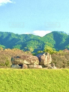 新緑の緑が映える春の奈良、石舞台古墳の写真・画像素材[3556008]