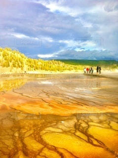 イエローストーン国立公園、黄色く美しい大地の風景の写真・画像素材[3571017]