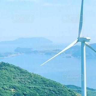 大星山からの、風力発電機のある風景の写真・画像素材[3446080]