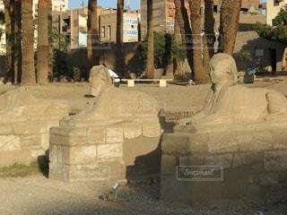 エジプトの市街地の石造りの像の写真・画像素材[3632619]