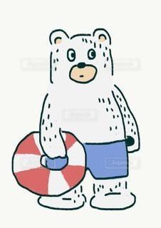 浮輪をもつ白熊の写真・画像素材[3478809]