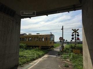 列車と踏切の写真・画像素材[3573639]