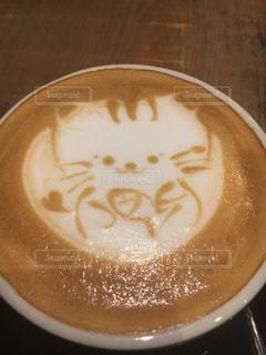 猫のラテアートの写真・画像素材[3504781]