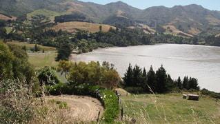背景に山がある畑の写真・画像素材[3526700]