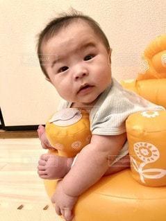 バンボに大喜びの息子の写真・画像素材[3552626]