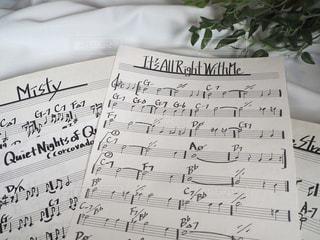 ジャズの手書きの楽譜の写真・画像素材[3633797]