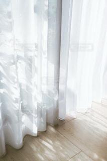 朝の光に透けたレースカーテンの写真・画像素材[4114498]
