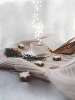 読書とティータイム 冬の写真・画像素材[4114559]