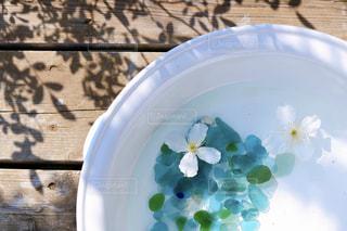テーブルの上に座っている青と白の板の写真・画像素材[3286585]